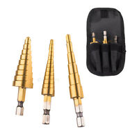 3pc 28 Sizes Industrial Step Drill Bit Set Titanium Hss M2 Reamer With Container