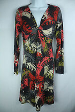 Cabi Long Sleeve Twisted V Neck Butterfly Cotton Blend Dress Size Medium