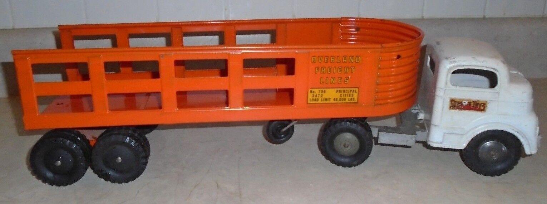 Vintage 60s Structo Overland flete líneas taxi con remolque Naranja De Cromo, Acero