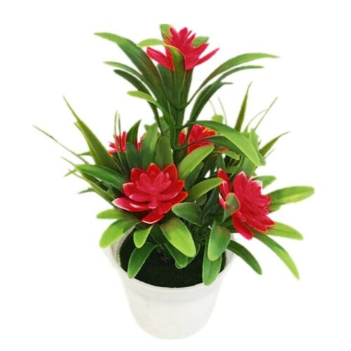 Plastic Artificial Fake-Flowers Plant Pot Outdoor Home Office Wedding Decor Gift
