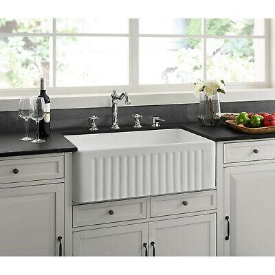 Farmhouse Kitchen Sink White Ceramic 30 X 18 With A Glossy Scratch Resist Ebay