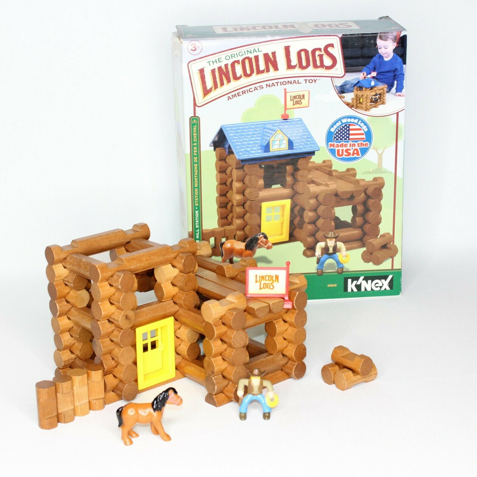 LINCOLN LOGS Horseshoe Hill Station 82 Pieces Ages 3+ Preschool Kids Missing Pc