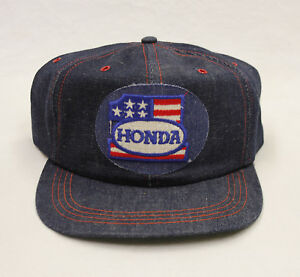 7364ad87ca0 Image is loading Vintage-Honda-Racing-Team-Denim-Embroidered-Patch-Snapback-