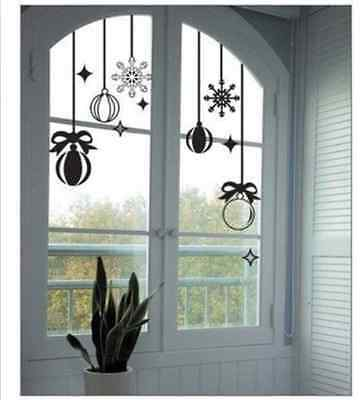 Hand Carving Christmas Decoration Vinyl Wall Stickers / Shop Window uk