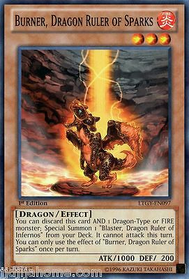 LTGY EN097 1ST ED 3X BURNER DRAGON RULER OF SPARKS COMMON CARDS