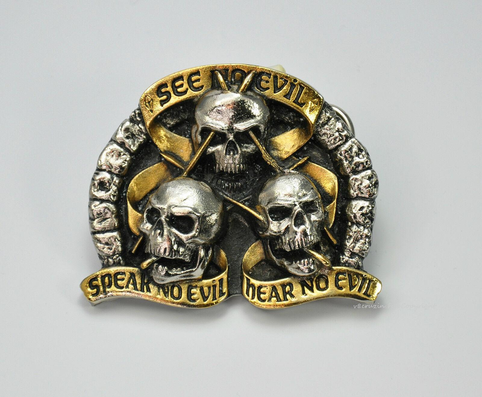 SEE NO EVIL Gürtelschnalle Totenkopf mizaru wise Skull Belt Buckle monkeys *181