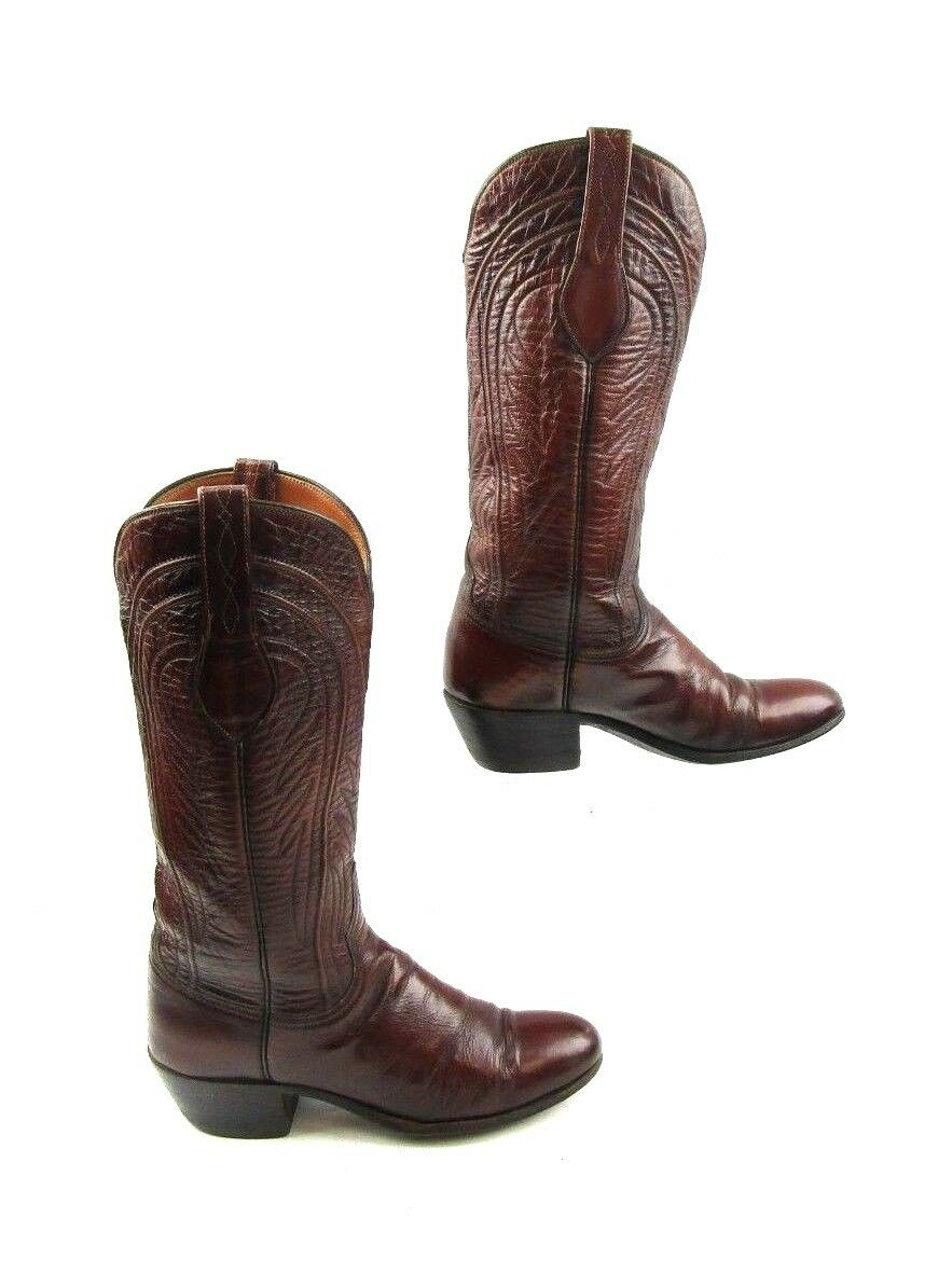 Ladies Lucchese Marroneee Leather Western Cowgirl stivali Dimensione   6 A  Narrow Width