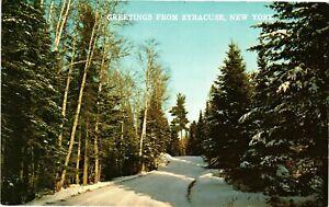 Vintage Postcard - Winter Scene Greetings From Syracuse New York NY #4622