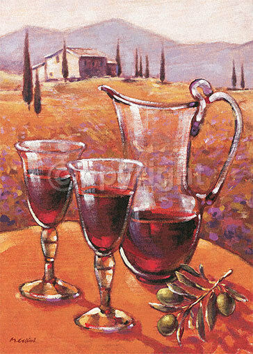 Mauro Cellini   Vino Rouge avec Ramo d'Ol ivio tableau prêt 50x70 Tableau mural