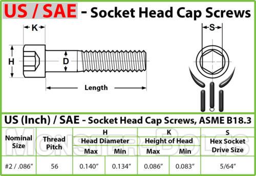 "#2-56 x 1//2/""  Stainless Steel Socket Head Cap Screws SAE Coarse Allen Hex 18-8"