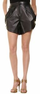 Womens Black Leather Shorts Genuine Lambskin Evening Club Party Wear Pants WS72
