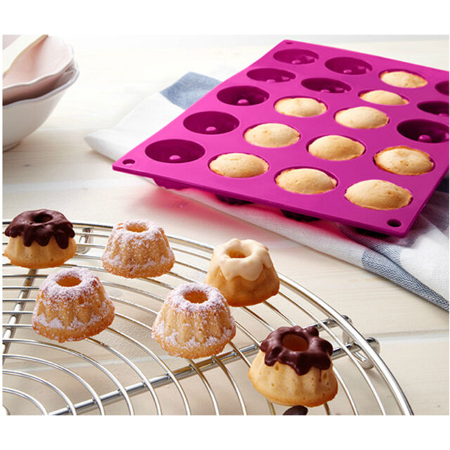 20-Cavity  Mini Fancy Bundt Savarin Cake Pan Silicone Mold Baking Mould