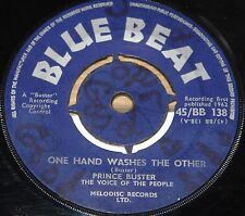 """PRINCE BUSTER ~ ONE HAND WASHES b/w COWBOY COMES TO TOWN ~ UK BLUE BEAT SKA 7"""""""