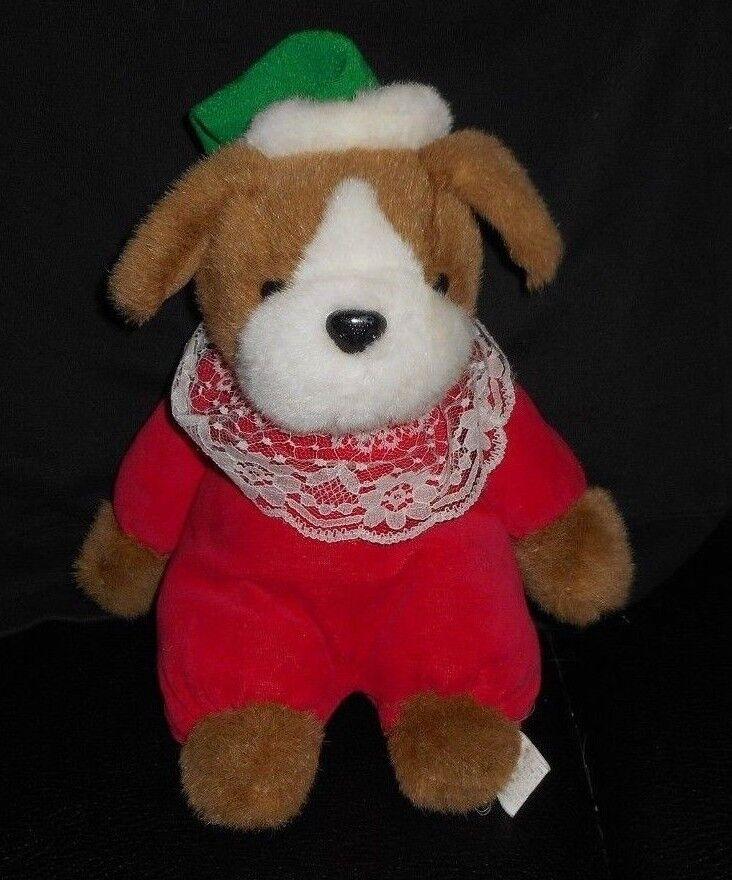 VINTAGE KUDDLE ME TOYS KELLYTOY BABY CHRISTMAS PUPPY DOG STUFFED ANIMAL PLUSH