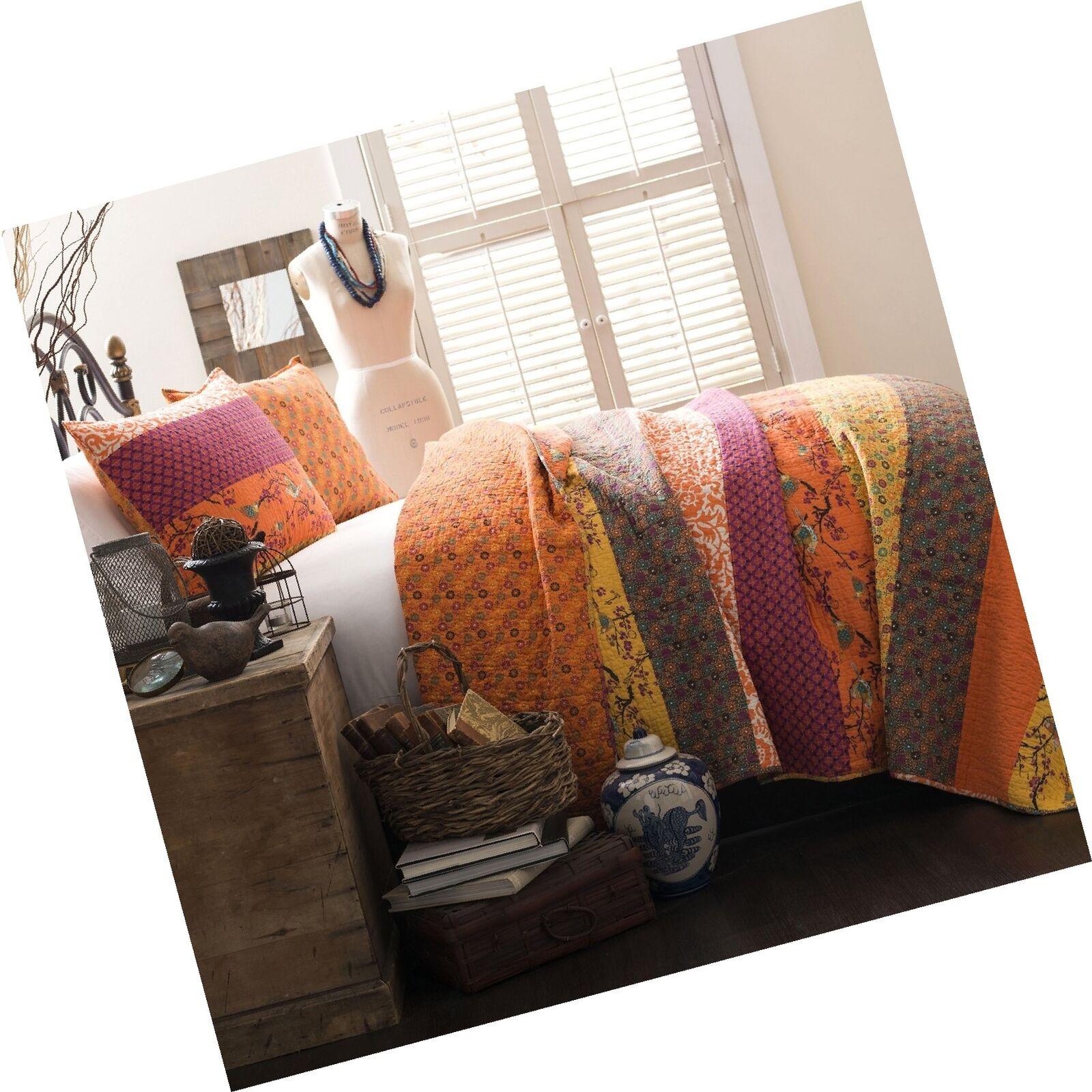 Lush Decor Royal Empire 3-Piece Quilt Set, King, Tangerine Free Shipping