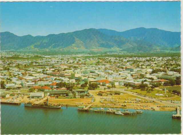 AERIAL VIEW OF CAIRNS QUEENSLAND G.K. BOLTON CAIRNS POSTCARD C1970