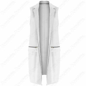 e6c59f2502f26b Details about WOMENS ZIP POCKET DUSTER JACKET LADIES SLEEVELESS OPEN  WAISTCOAT SUMMER LOOK TOP