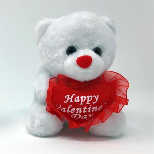 "5/"" White Plush Happy Valentine/'s Day Bear Red Heart Pillow Teddy Stuffed Animal"