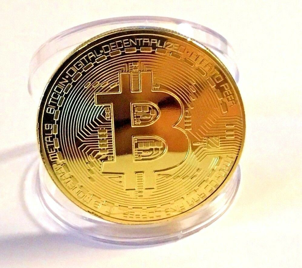 BITCOIN!! Gold Plated Physical Bitcoin in protective acrylic case FREE SHIP