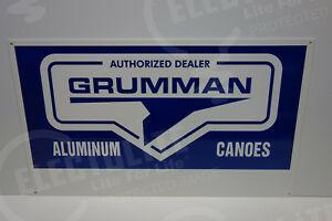GRUMMAN-CANOE-USA-DEALER-SIGN-DIE-CUT-Sign-MINT-ENAMEL-14-034-BY-24-034-GREAT-COLORS
