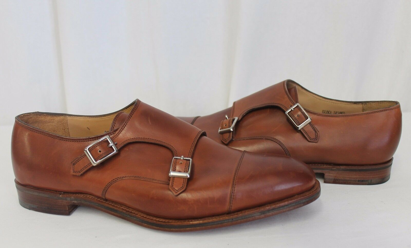 Alfred Sargent For J.Crew Double Monk Strap Scarpe Loafers Mahogany marrone 12  525