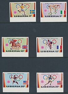 "LIBERIA #591-96 ""1972 MUNICH OLYMPICS GAMES"" IMPERF ERROR STAMPS BR5340"