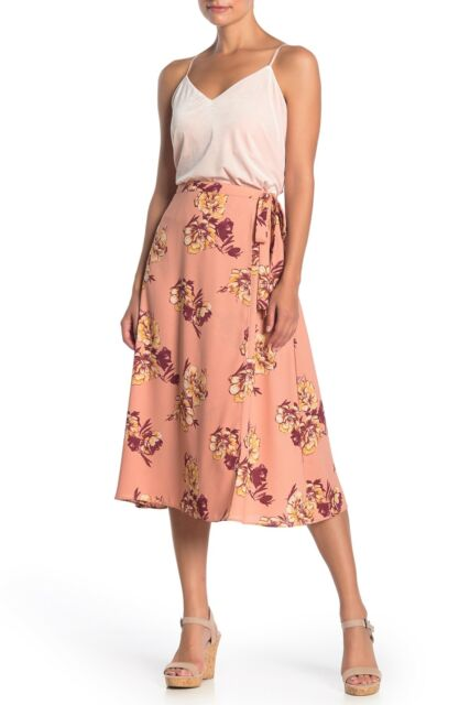 Abound Women's Skirt Pink Size XXL Faux Wrap Floral Print Tie Waist $49 #334