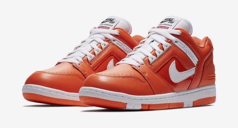 Men's Supreme/Nike SB Air Force 2 Orange - 100% Authentic - Size: 9