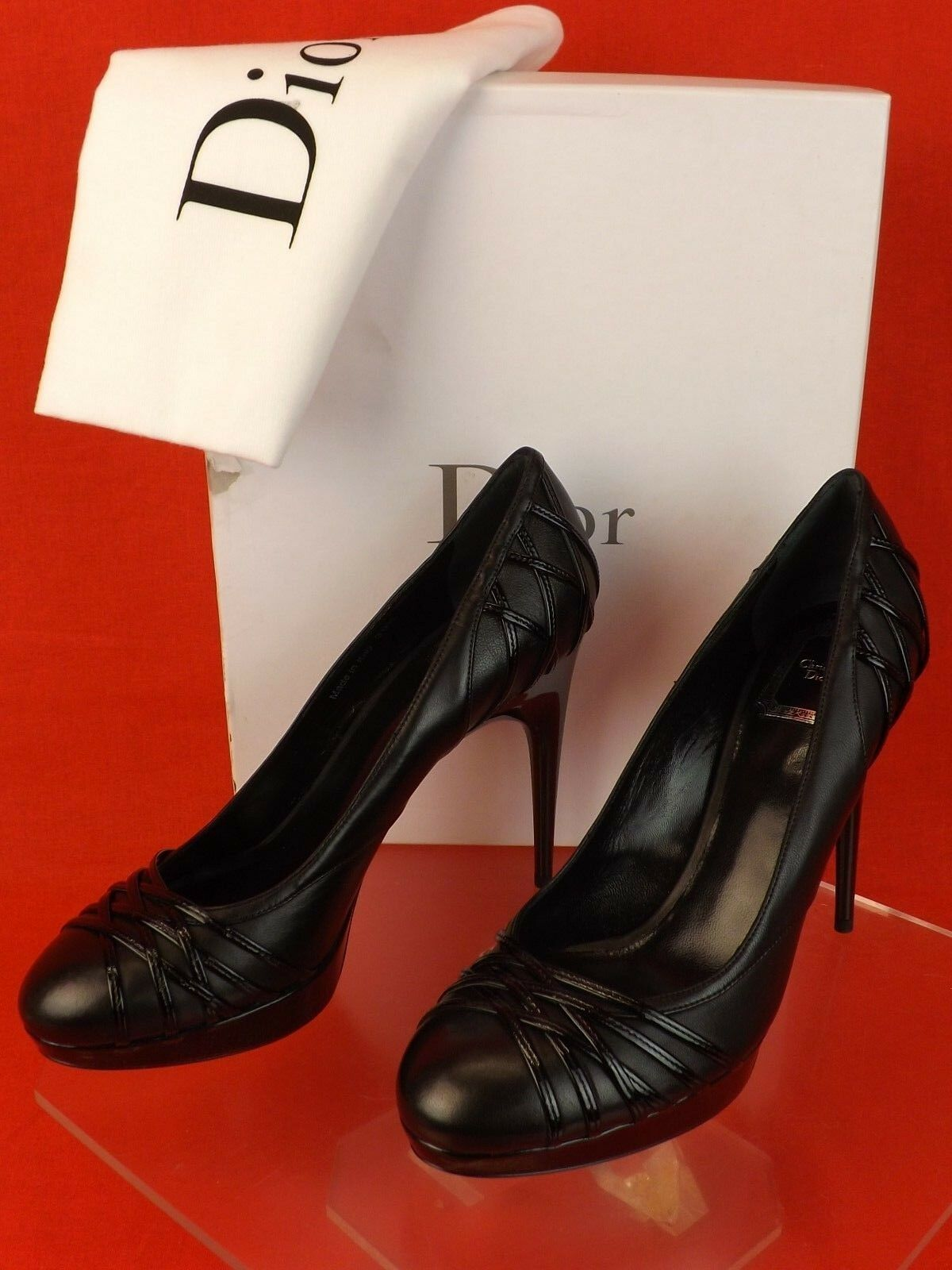 Neuf dans sa boîte Christian Christian Christian Dior en cuir noir KARENINE Piste Escarpins 39.5 0f14f8