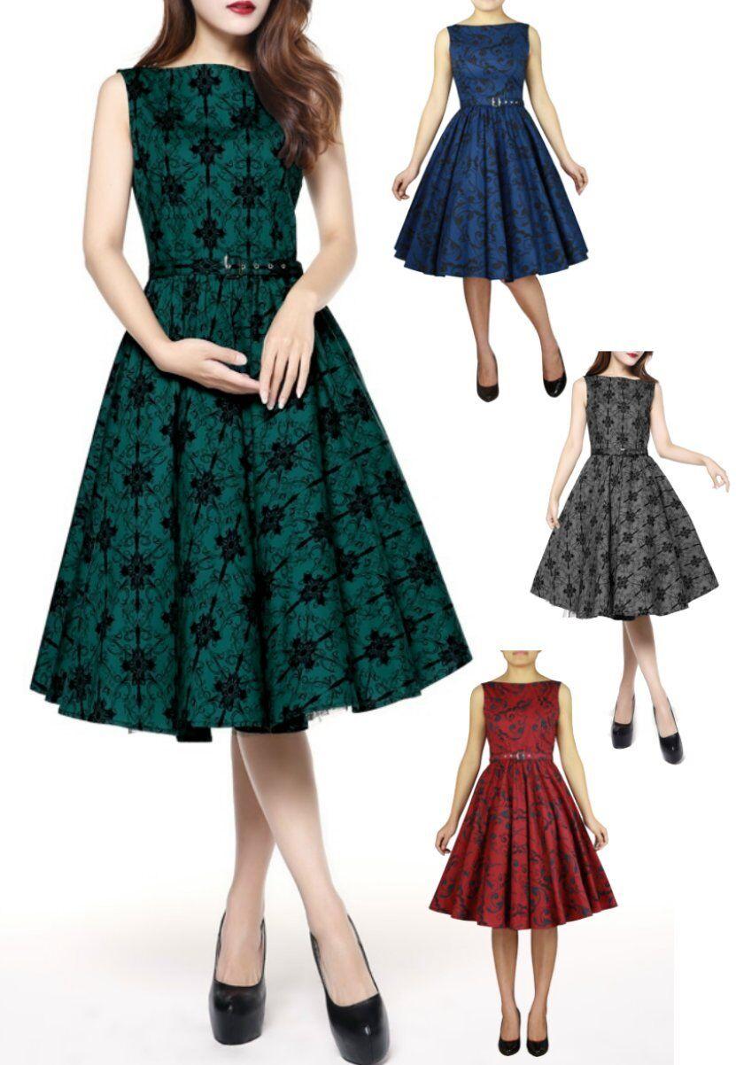50963 CSTD Damen Kleid Rockabilly 50er 60er Jahre Lolita Print Tanz Größe 36-58