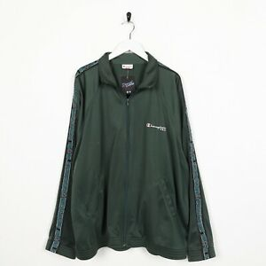 Vintage-CHAMPION-Small-Logo-Tape-Arm-Zip-Up-Track-Top-Jacket-Green-XL