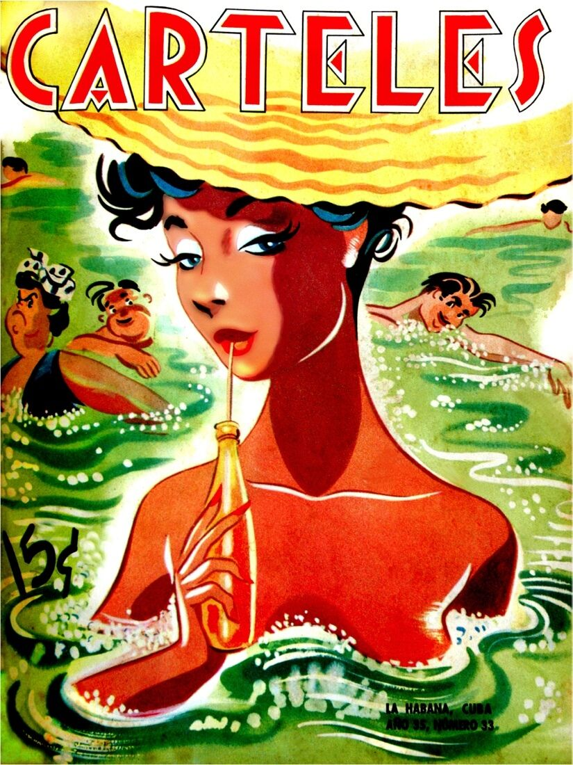 7060.Carteles.Woman sipping drink while wading in water.POSTER.art wall decor