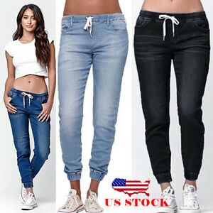 US-Women-039-s-Casual-Denim-Jogger-Pants-Ladies-Drawstring-Elastic-Waist-Jeans-Solid