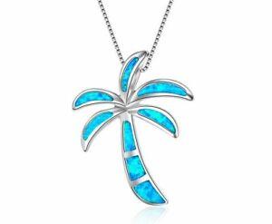 925 Sterling Silver Blue Fire Opal Palm