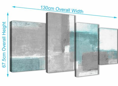 4377-130cm Large Teal Grey Painting Abstract Bedroom Canvas Pictures Decor