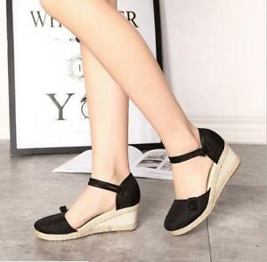 0383e558ae1 Womens Ethnic Wedge Mid Heel Sandals Ankle Strap Espadrille Closed ...