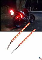 2x Motorcycle Rear Tail Light Brake Strip Running Flash Led Red Naked Euro Jap