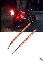 2x Motorcycle Rear Tail Light Brake Strip Running Flash Led Lights Red