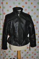 Divine Black Buffalo Leather Coat Women's Xl Motorcycle Jacket Coat Zipout