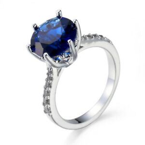 ZARD-JEWELRY-925-Sterling-Silver-Princess-Cut-Blue-White-CZ-Promise-Wedding-Ring