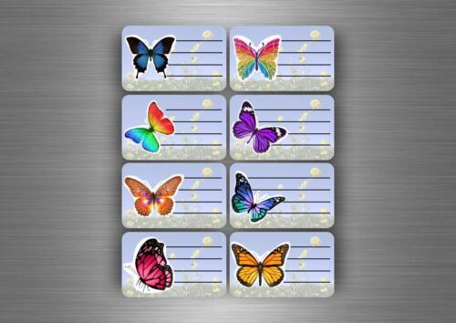 16x autocollant sticker etiquette cahier scolaire livre classeur ecole papillon