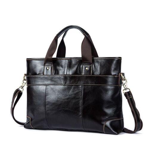 Men/'s Vintage Genuine Real Cow Leather Messenger Shoulder Bag Briefcase Handbag