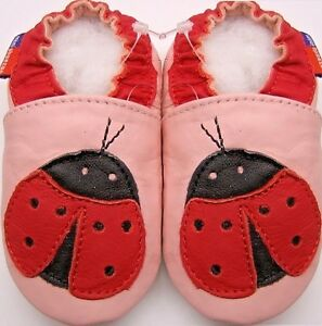 crib soft sole leather shoes  ladybug pink 0-6 months infant baby girl newborn