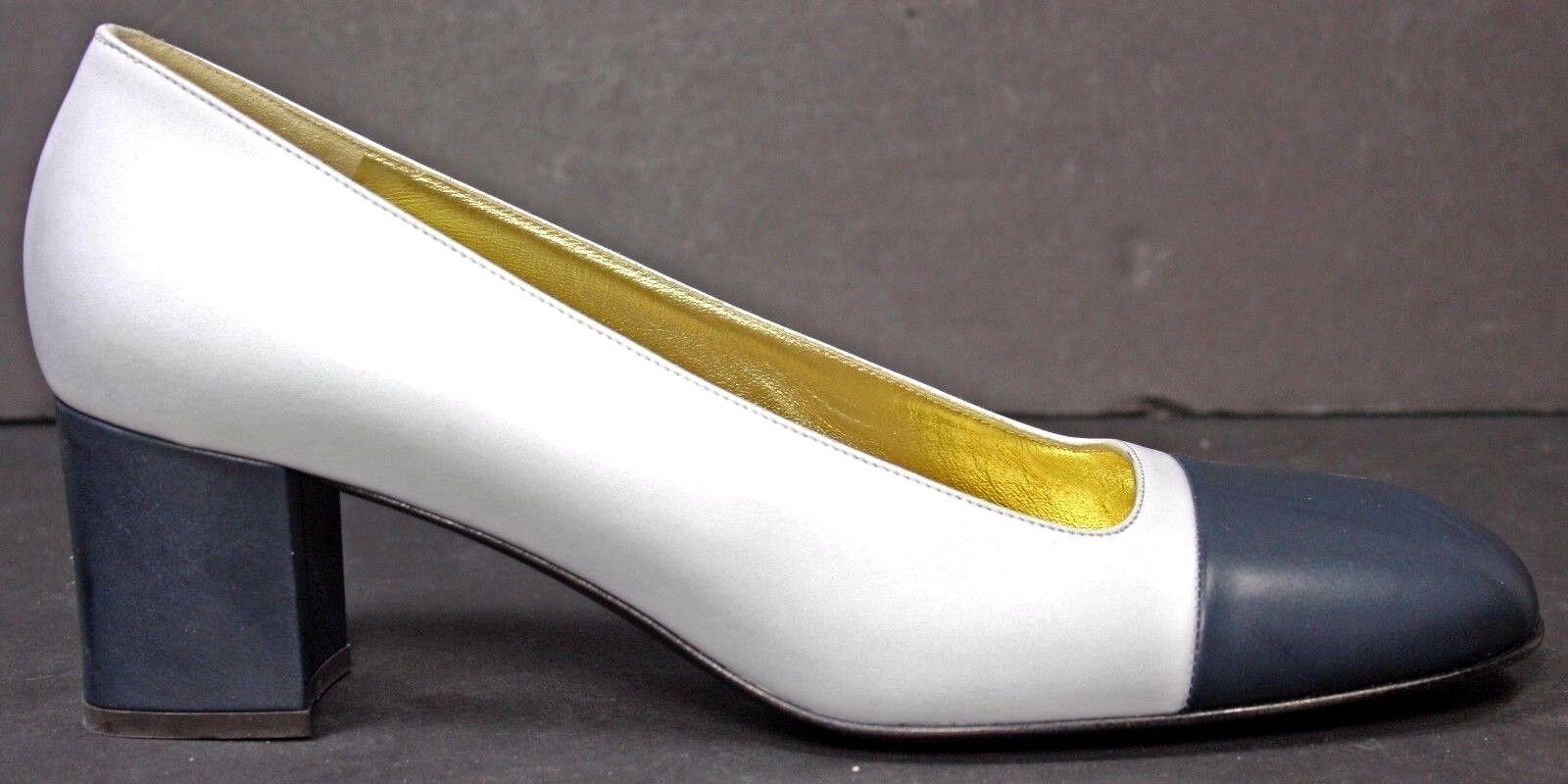 BRUNO MAGLI Womens Pumps sz 8.5 AA White & bluee Leather Cap Toe Heels shoes WH49