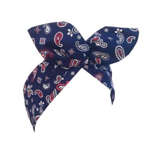 Navy blue paisley print wire headband Rockabilly retro Pin up hair wrap bandana