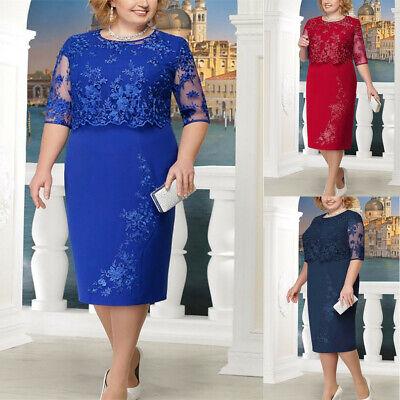 Plus Size Women Cold Shoulder Lace Midi Dress Evening Party Cocktail Gown Dress