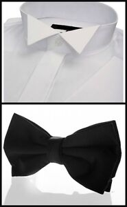 WHITE-WING-COLLAR-SHIRT-amp-BLACK-BOW-TIE-FACTORY-SECOND-CHRISTMAS-XMAS-PRESENT