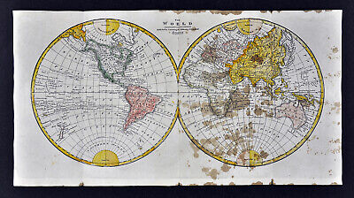 Map Of America Over Australia.C 1821 Morse Map World In Hemispheres North America Europe Asia