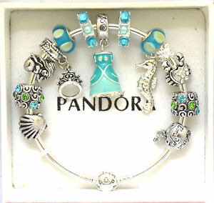 e9ad109f6 Image is loading PANDORA-Silver-Bangle-Charm-Bracelet-and-European-Charms-