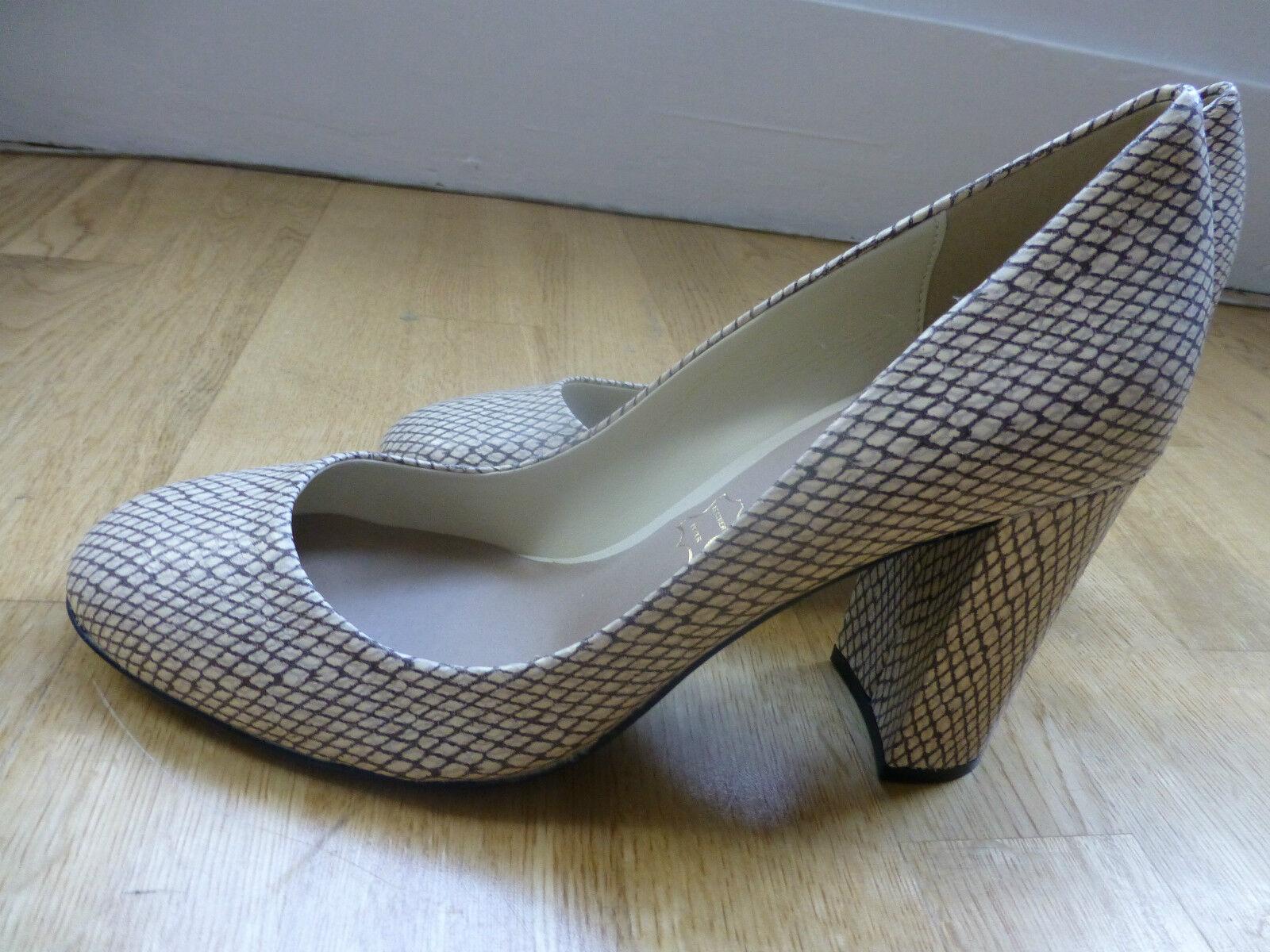 M&S Autograph Leather Faux Snakeskin Print Block Heel Court shoes Size 6 NEW